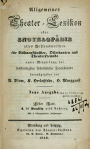 Cover of: Allgemeines theater-lexikon