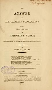 Cover of: An answer to Dr. Gillies's supplement to his new analysis of Aritotle's works