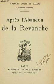 Cover of: Apres l'abandon de la revanche