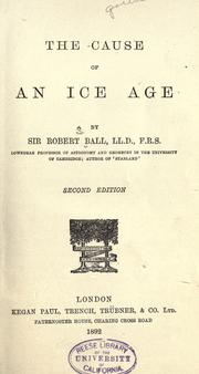 Cover of: The cause of an ice age