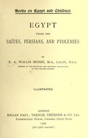 Cover of: Egypt under the Saïtes, Persians, and Ptolemies
