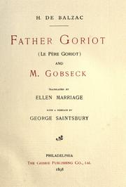 Cover of: Father Goriot and M. Gobseck