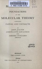 Cover of: Foundations of the molecular theory