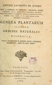 Cover of: Genera plantarum secundum ordines naturales disposita