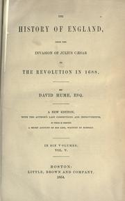 Cover of: The history of England, from the invasion of Julius Cæser to the revolution in 1688
