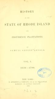 Cover of: History of the state of Rhode Island & Providence plantations