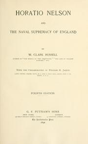 Cover of: Horatio Nelson and the naval supremacy of England