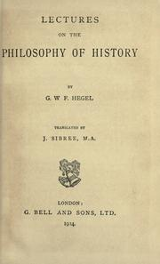 Cover of: Lectures on the philosophy of history