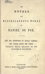Cover of: The novels and miscellaneous works of Daniel De Foe