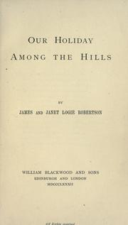 Cover of: Our holiday among the hills