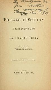 Cover of: The pillars of society: play in four acts