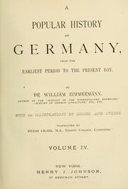 Cover of: A popular history of Germany: from the earliest period to the present day.