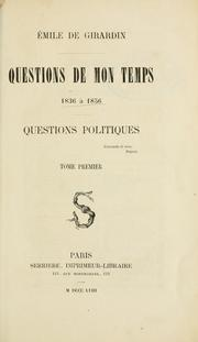 Cover of: Questions de mon temps, 1836 à 1856