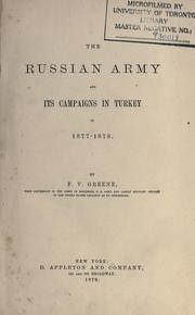 Cover of: The Russian Army and its campaigns in Turkey in 1877-1878.