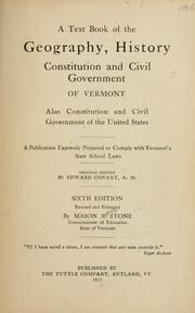 Cover of: A text book of the geography, history, constitution and civil government of Vermont