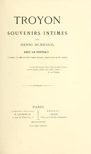 Cover of: Troyon: souvenirs intimes