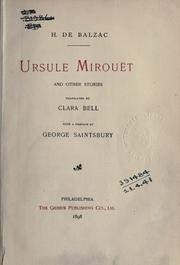 Cover of: Ursule Mirouët and other stories: Translated by Clara Bell. With a pref. by George Saintsbury.