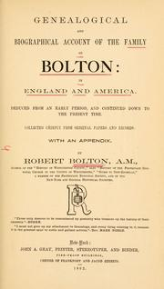 Cover of: The family of Bolton in England and America, 1100-1894
