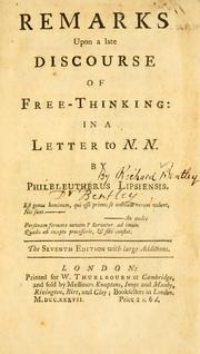 Cover of: Remarks upon a late discourse of Free-Thinking in a letter to N. N.