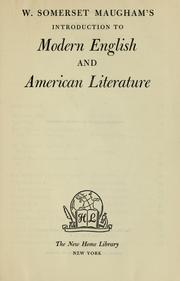 Cover of: W. Somerset Maugham's Introduction to modern English and American literature
