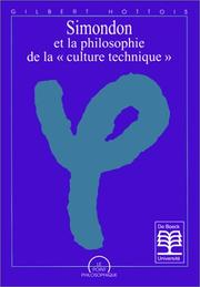 "Cover of: Simondon et la philosophie de la ""culture technique"""