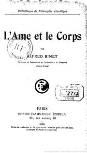 Cover of: L'Ame et le corps