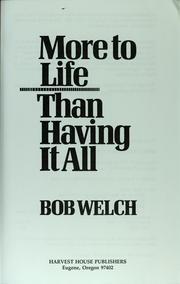 Cover of: More to life than having it all