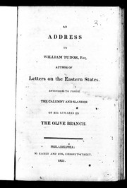 Cover of: An address to William Tudor, Esq. author of Letters on the eastern states