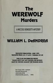 Cover of: The werewolf murders: a Niccolo Benedetti mystery
