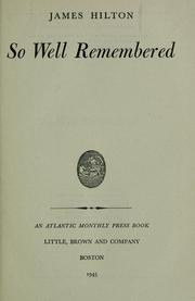 Cover of: So well remembered