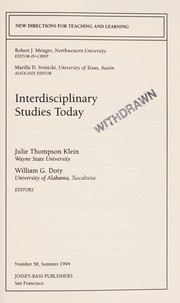 Cover of: Interdisciplinary studies today
