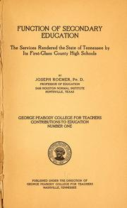 Cover of: Function of secondary education