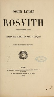Cover of: Poésies latines de Rosvith