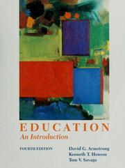 Cover of: Education: an introduction