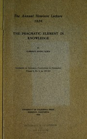 Cover of: The pragmatic element in knowledge