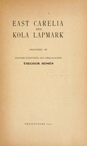 Cover of: East Carelia and Kola Lapmark