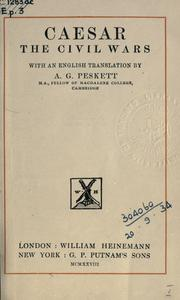 Cover of: The civil wars: with an English translation by A.G. Peskett.
