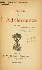 Cover of: L' adieu à l'adolescence: poème.
