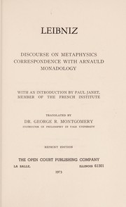 Cover of: Discourse on metaphysics: correspondence with Arnauld, and monadology.