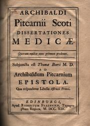 Cover of: Dissertationes medicae