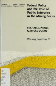 Cover of: Federal policy and the role of public enterprise in the mining sector