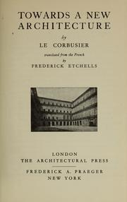 Cover of: Vers une architecture