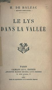 Cover of: Le lys dans la valle e