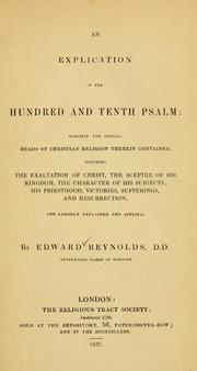 Cover of: An explication of the hundred and tenth Psalm