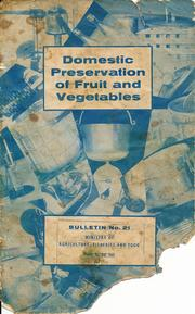 Cover of: Domestic preservation of fruit and vegetables