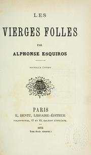Cover of: Les vierges folles