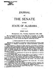 Cover of: Journal of the Senate of the State of Alabama