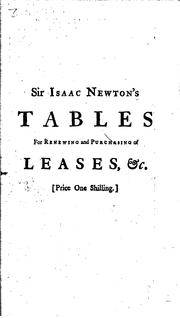 Cover of: Tables for Renewing and Purchasing of the Leases of Cathedral-churches and ..