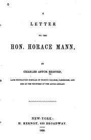 Cover of: A Letter to the Honorable Horace Mann