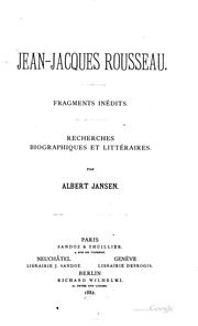 Cover of: Jean-Jacques Rousseau: Fragments inedits
